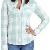 Thread and Supply Buffalo Plaid Shirt for Women in Spearmint