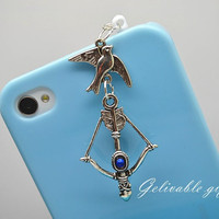 iPhone 5 4S 4 charm,3.5mm dust proof plug with hunger games mockingjay,Katniss bow and arrow charms,fit for samsung Blackberry HTC PSHG003