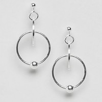 ASOS Sterling Silver Disc and Open Circle Drop Earrings at asos.com