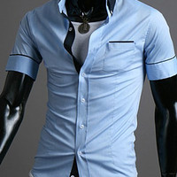 Light Blue Shirt Collar Pocket Design Short Sleeve Shirt