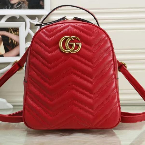 Image of GG hot sale solid color sewing thread backpack gold buckle letter school bag Daypack Red