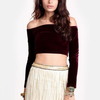 Seeing The Ex Velvet Cropped Top By MINKPINK