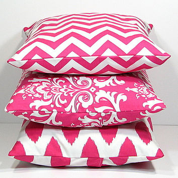 "Hot PINK Pillows Decorative Pillows TRIO chevron, damask, ikat set of THREE 20"" Throw Pillow Covers 20x20 pink, white Zig Zag"