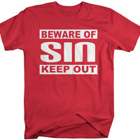 Men's Religious Beware of Sin T-Shirt Christian Shirts Sinner Tees Hipster Style Shirts