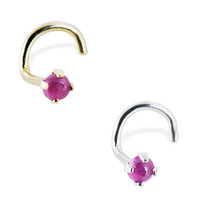 14K Gold Nose Screw with 2mm Round Cabochon Ruby