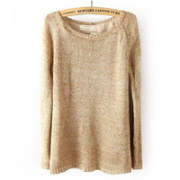 Khaki Slim Long Sleeve Sequin Behind Split Sweater  from Showmall