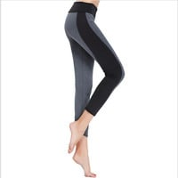 S-XL 2 colors Woman's Leggings Fashion Black Gray High Waisted Stretched Leggings Splice Workout Leggings