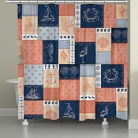 Coral and Navy Coastal Shower Curtain