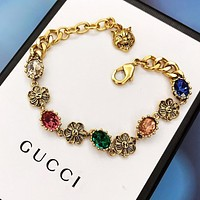 GUCCI Trending Woman Chic Flower Colorful Diamond Hand Catenary Bracelet Accessories Jewelry
