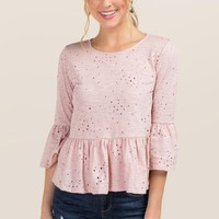 Mira Ruffle Sleeve Distressed Knit Top