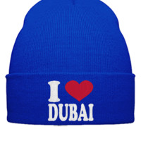 I LOVE DUBAI EMBROIDERY HAT - Beanie Cuffed Knit Cap