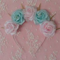 Melody Pearl-mint and pink flower crown with golden spikes