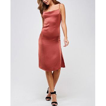 Madeline Midi Satin Slip Dress in Rust