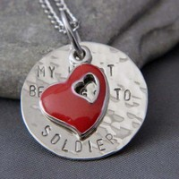 My Heart Belongs to A Soldier Handstamped Necklace
