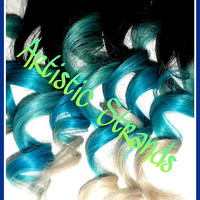 Blue / Turquoise / White Tips / Ombre Hair Extensions / Real Remy Hair / (8) Piece Set / Dip Dyed