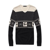 West Street Haku Men's Christmas Reindeer and Snow Flake Knit Crewneck Sweaters