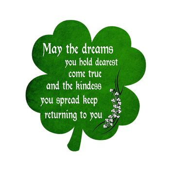Irish Blessing Prayer May The Dreams You Hold Dearest Come True Green Shamrock Vinyl Sticker