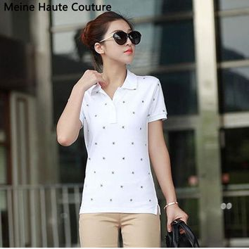 CREYHY3 4XL Causal Slim Solid Embroidery Polo Women Shirt Cotton Turn-down Collar Women's Polo Shirt polos mujer manga corta marca