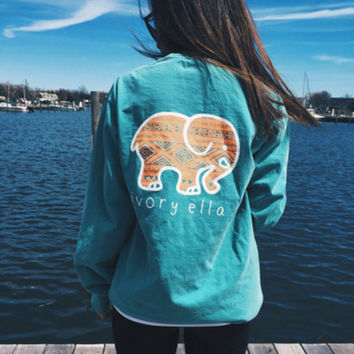 2016 Trending Fashion Blue Ivory Ella Cartoon Elephant Long Sleeve Round Necked Top Shirt T-Shirt