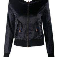 'Celebrity' Silk Bomber Jacket - Black