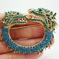 New Vintage Style Double Faucet Animal Brooch Pin Blue Rhinestone Crystal