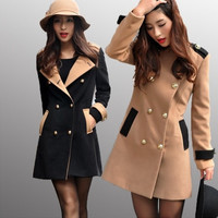 Qiuqiu clothes new double-breasted wool coat Korean Slim woolen coat lapel = 1956175812