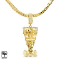"Jewelry Kay style Men's Icy CZ Gold Plated Egyptian Pharaoh Pendant 20"" Chain Necklace BCH 13127 G"