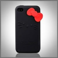 "Hello Kitty Black Silicone w bow (bow color may vary) ""Flexa"" silicone case cover for Apple iPhone 4"