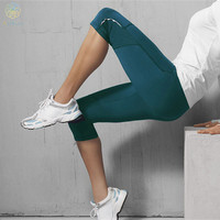 Elastic Breathable Green & Blue Yoga Pants