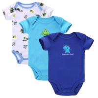 3pcs/lot Baby Romper Short Sleeve Cotton Similar  Baby Boy Girl Clothes Baby Wear Jumpsuits Clothing Set Body Suits