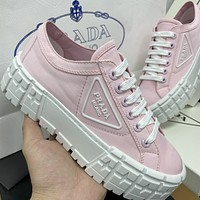 Prada New Canvas Embroidered Platform Shoes Womens Triangle Logo Casual Shoes sneakers Pink