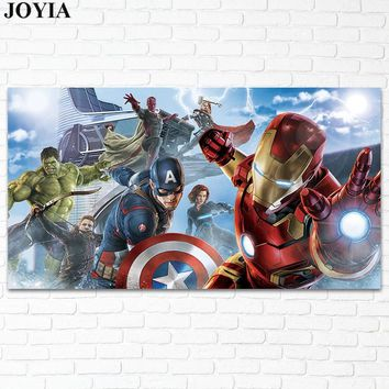 Avengers Poster Marvel Heroes Prints Picture Of Iron Man Captain America Hulk Black Widow Hawkeye Wall Art Home Decoration