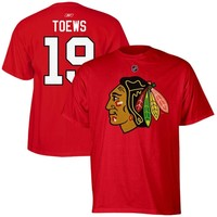 Jonathan Toews Chicago Blackhawks Reebok Name and Number Player T-Shirt – Red