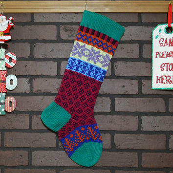 Hand Knit Christmas Stocking, Fair Isle Knit Stocking with Green Cuff, Lavender Snowflakes and Orange Trees, can be personalized, Gift Idea