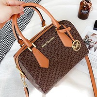 MK Fashion New More Letter Canvas Leather Pillow Shape Shopping Leisure Crossbody Bag Handbag Shoulder Bag Coffee