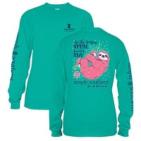 Sale Simply Southern Preppy Sloth Seafoam Long Sleeve T-Shirt