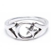 Brandy ♥ Melville |  Silver Crescent Moon Ring - Accessories