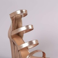 Bamboo Strappy Metallic Ladder-Up Chunky Heel