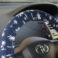 Steering wheel cover – Beach, palm car accessory, steer cover, automobile wheel cover, car decor – car gift idea for her, for him