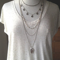 5 Layer Necklace Layering Necklace Curve Bar Coin Arrow Necklace Boho Yoga Jewelry Silver UK