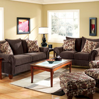 2 pc Chelmsford contemporary style dark chocolate fabric Sofa and love seat set with rounded arms Made in the USA