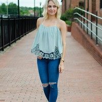 Hopelessly Devoted Embroidered Top