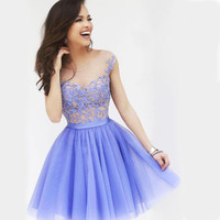 Lavender Floral Crochet Pleated Skater Dress