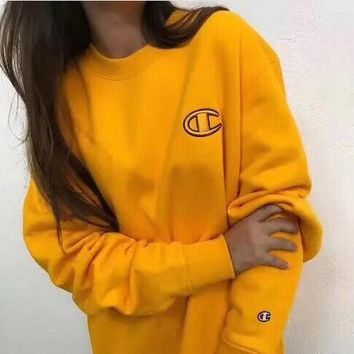 Champion HOT SALE Round neck letters printed loose long sleeve sweater