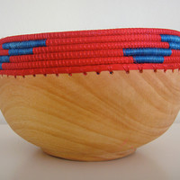 Wooden Bowl with Bright Trim