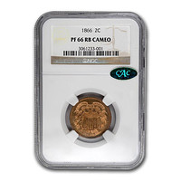 1866 Two Cent Piece PF-66 Cameo NGC CAC (Red/Brown)