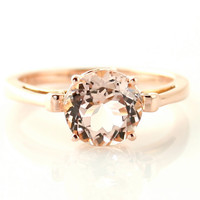 14K Rose Gold Morganite Ring Custom Gemstone Ring 14K by RareEarth