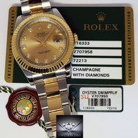 Rolex Datejust II 18k Yellow Gold Steel & Diamond Mens Watch Box/Papers 116333
