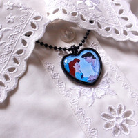 The Little Mermaid heart cameo necklace - Ariel and Eric