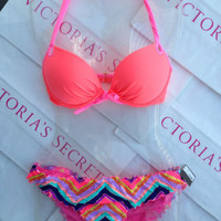 New Sexy Victoria's Secret Gorgeous Push Up Bikini Set Coral Mix and Match 34D L
